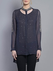 Navy Blue Embroidered Viscose Georgette Top - By