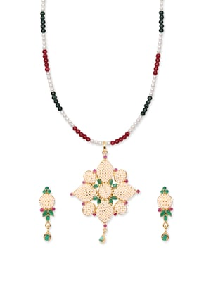 Pearls Collection Golden Pendant Set For Women