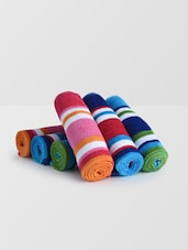 Set Of 6 Multicolored Striped Cotton Hand Towels - By