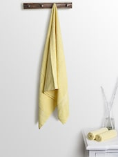 Yellow Cotton Plain Set  Of Bath Towels And Hand Towels - By