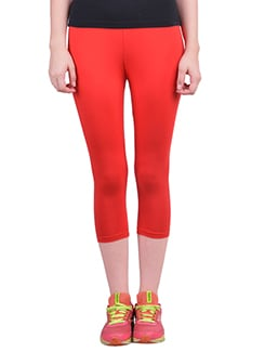 red cotton capri leggings  available at Limeroad for Rs.323