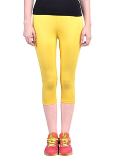 yellow cotton capri legging  available at Limeroad for Rs.323