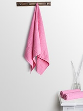 Pink Cotton Plain Ladies Bath Towels And Hand Towels - By