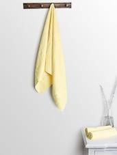 Yellow Cotton Plain Bath Towels And Hand Towels - By