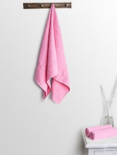 Pink Cotton Plain Bath Towels And Hand Towels - By