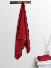 Red Cotton Plain Bath Towels And Hand Towels - By
