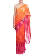 Pink And Orange Georgette Paisley Print Sari - By