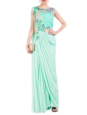 Green net draped saree gown -  online shopping for Sarees