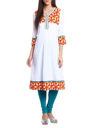 white color cotton flared kurta