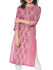 Pink Hand Block Print Cotton Kurta - By