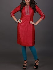 Red embroidered tussar silk kurta -  online shopping for kurtas