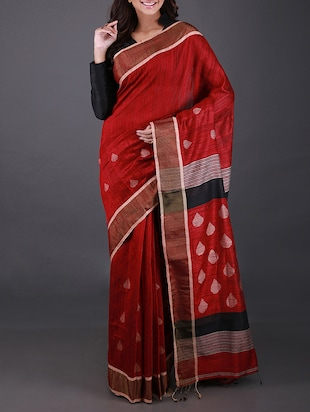 Red Matka Silk Saree -  online shopping for Sarees