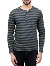 grey cotton striped t-shirt -  online shopping for T-Shirts