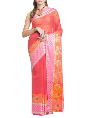 red colored kota doria saree