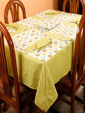 Dekor World Owl Printed Green Table Cover With Place Mat & Napkin (Pack Of 25) - By