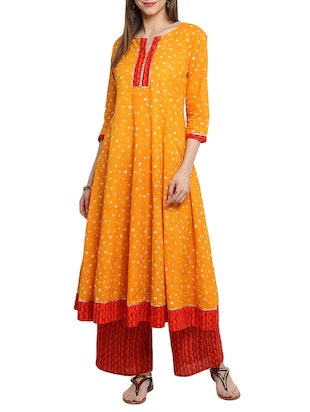 Orange cotton anarkali kurta