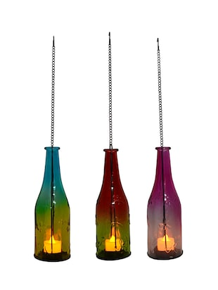 Multicolor Beautiful 3 Bottle Style Hanging Tealight Holders