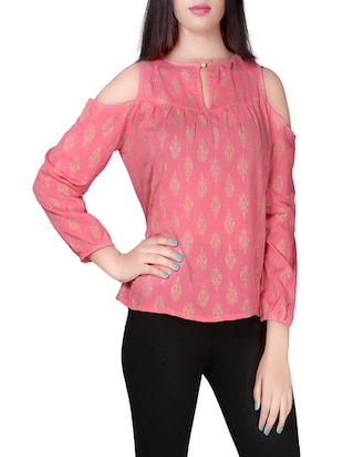 pink block printed crepe top