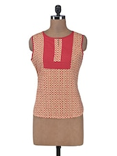 Beige Printed Cotton Summer Kurta - By