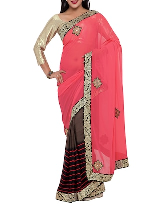 pink georgette embroidered half and half saree