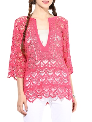 Pink Cotton Short Sleeve Shrug