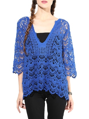 Blue Cotton Short Sleeve Shrug