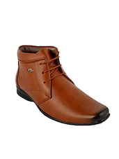 brown Leatherette lace up boot -  online shopping for Boots