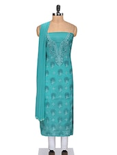Persian Green Unstitched Chikankari Suit Set - By