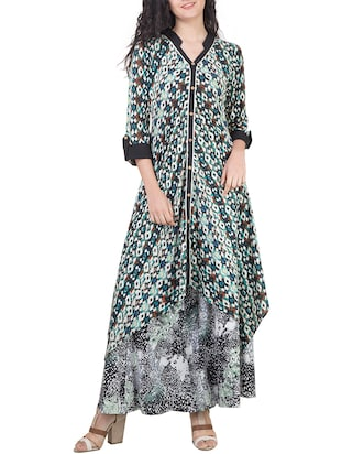 multi colored rayon printed kurta
