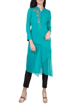 Blue georgette asymmetric kurta