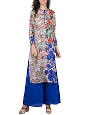 blue georgette palazzo  suit -  online shopping for Suits