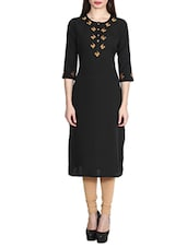 Black Poly Crepe Straight Kurta - By