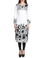 White Poly Crepe Straight Kurta - By