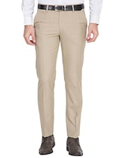 beige polyester flat front trousers formal -  online shopping for Formal Trousers