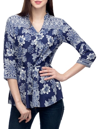 dark blue viscose regular tunic