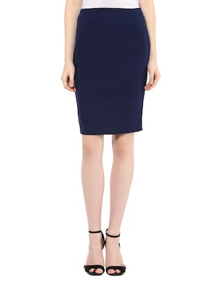 navy blue polyester pencil skirt