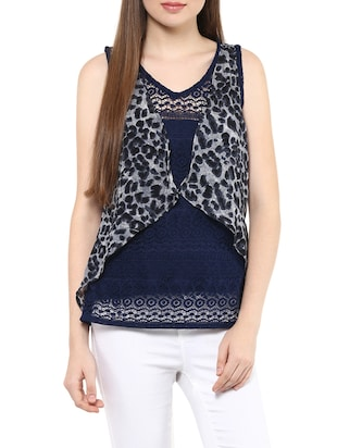 navy blue printed net regular top
