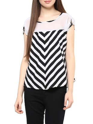 white striped poly crepe top