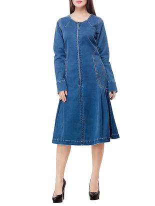 blue denim A-line dress