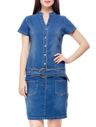 solid blue denim sheath dress