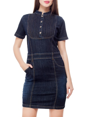 dark blue denim bodycon dress