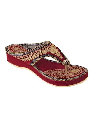 red ethnic sandals