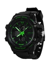 Skmei Stylish Black Dial With Green Details Analogue-Digital Sports Watch For Men -  online shopping for Analog Watches