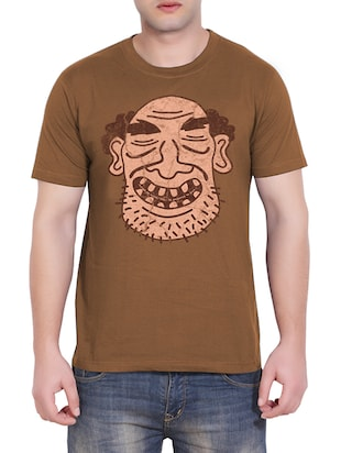 brown  printed cotton t-shirt -  online shopping for T-Shirts