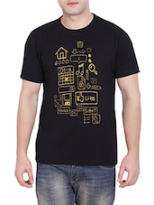 black printed cotton t-shirt -  online shopping for T-Shirts