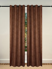 Lushomes Embossed Blackout Brown Curtain With 8 Metal Eyelets For Long Doors (Single Pc Pack) - By