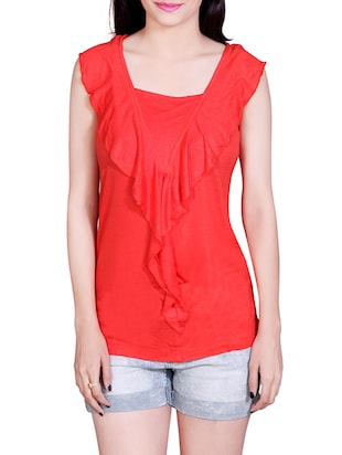 red viscose regular top -  online shopping for Tops