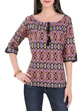 multicolored printed cotton regular top -  online shopping for Tops