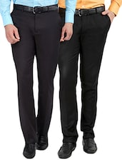 black  set of 2 polyester flat front trousers formal trouser -  online shopping for Formal Trousers