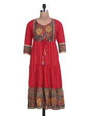 Printed Red Cotton Anarkali Kurta - By